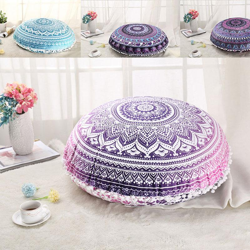 15 Style Indian Mandala Floor Pillow Case Round Bohemian Cushion ...