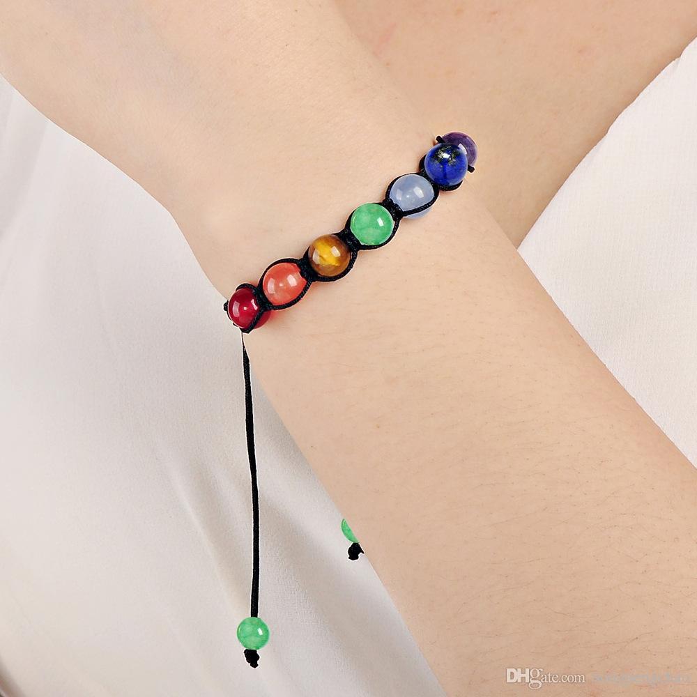 Personalidad moda damas 6mm 8mm 10mm tres especificaciones de piedra natural nueva bricolaje yoga energía tejido siete pulseras de rueda