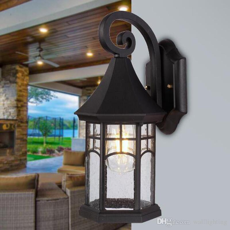 cottage outdoor lighting. Vintage Cottage Porch Lights Waterproof Garden Lamp Aluminum Glass Body Led Bulbs European Outdoor Wall Lighting Light