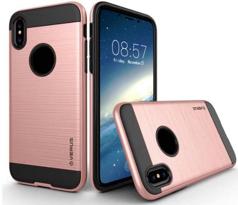 Verus Funda híbrida cepillada para Galaxy S10 Lite Note 9 8 S9 S8 Cubierta Iphone XS MAX XR 8 X 6 5 Armadura Resistente a prueba de golpes PC + TPU Escarabajo delgado
