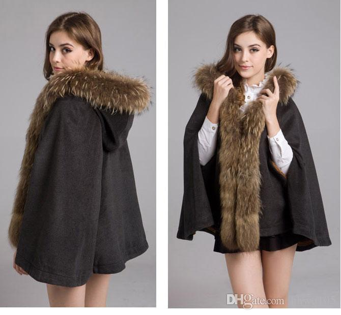 Winter Raccoon Fur Ponchos Coat For Women Hooded Woolen Coats Jacket Warm Parka Jackets Shawl Cape Outwear Grey Camel Red HOD1201