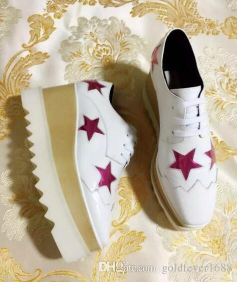new Stella Mccartney women Shoes platform Blue Genuine Leather White Sole Stars Shoes