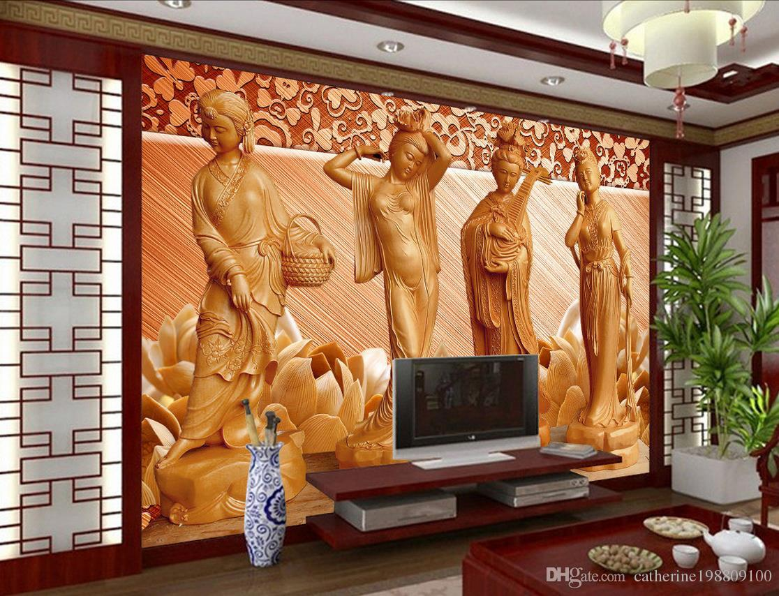 Wood Wall Mural living room 3d wood carving four beauty tv background wall mural