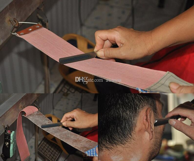 Men Durable Dual Strap Leather Shaving Strap Belt For Barber Straight Razor Knife Sharpening Barber Necessary Stropping Leather