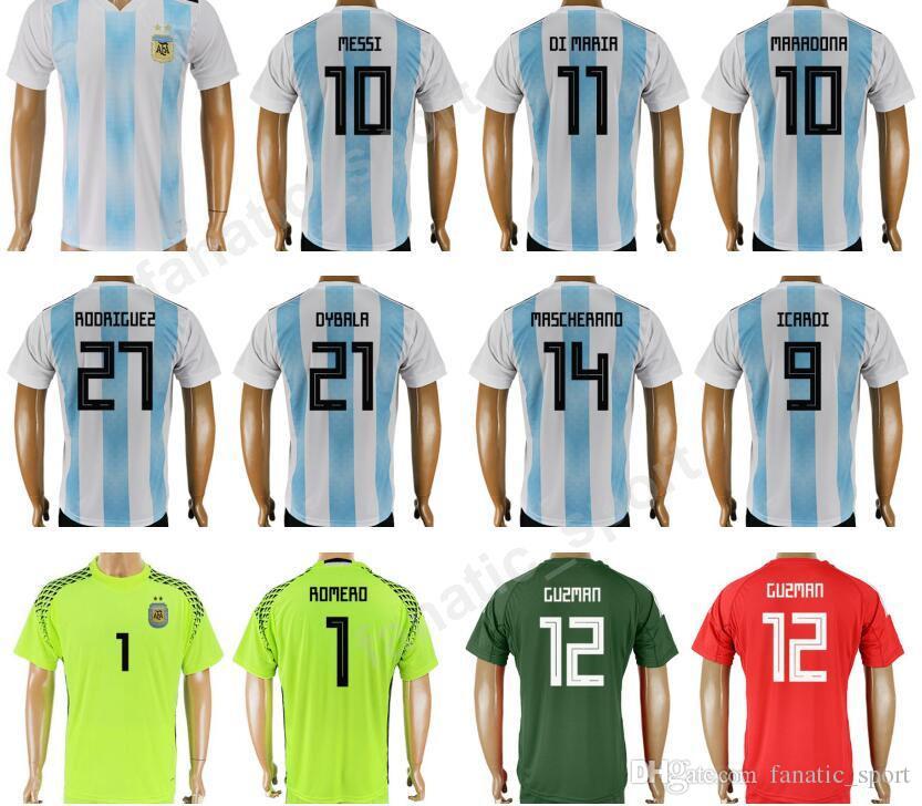 Compre 2017 Argentina Jerseys Uniformes De Futebol 2018 Copa Do Mundo 10  MESSI Argentina Camisa De Futebol Kit 11 DI MARIA 11 AGUERO 20 KUN AGUERO  22 GOMEZ ... 08b191638d523