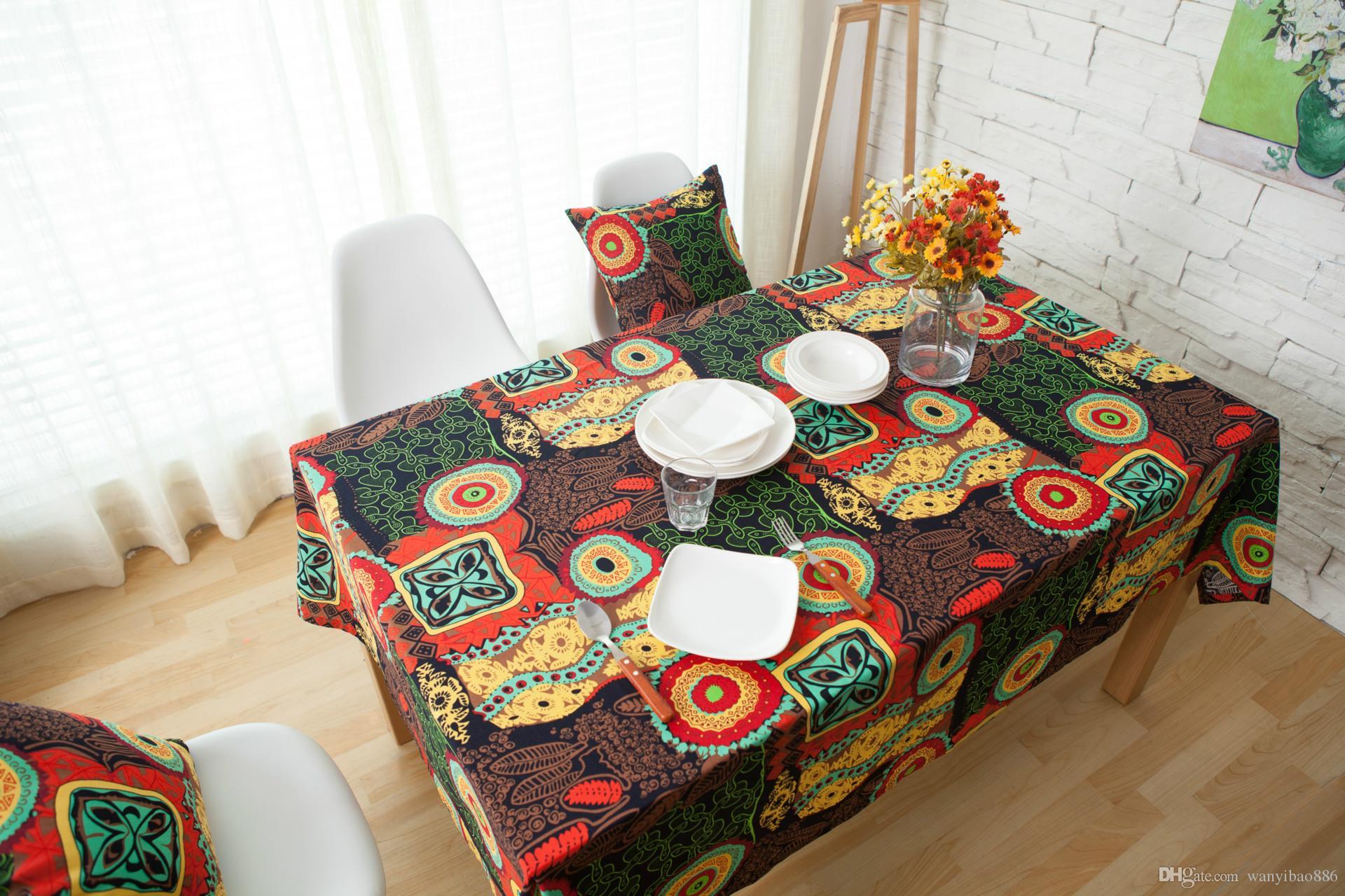 Red Navy Mediterranean Cotton And Linen Cloth Art Bohemia