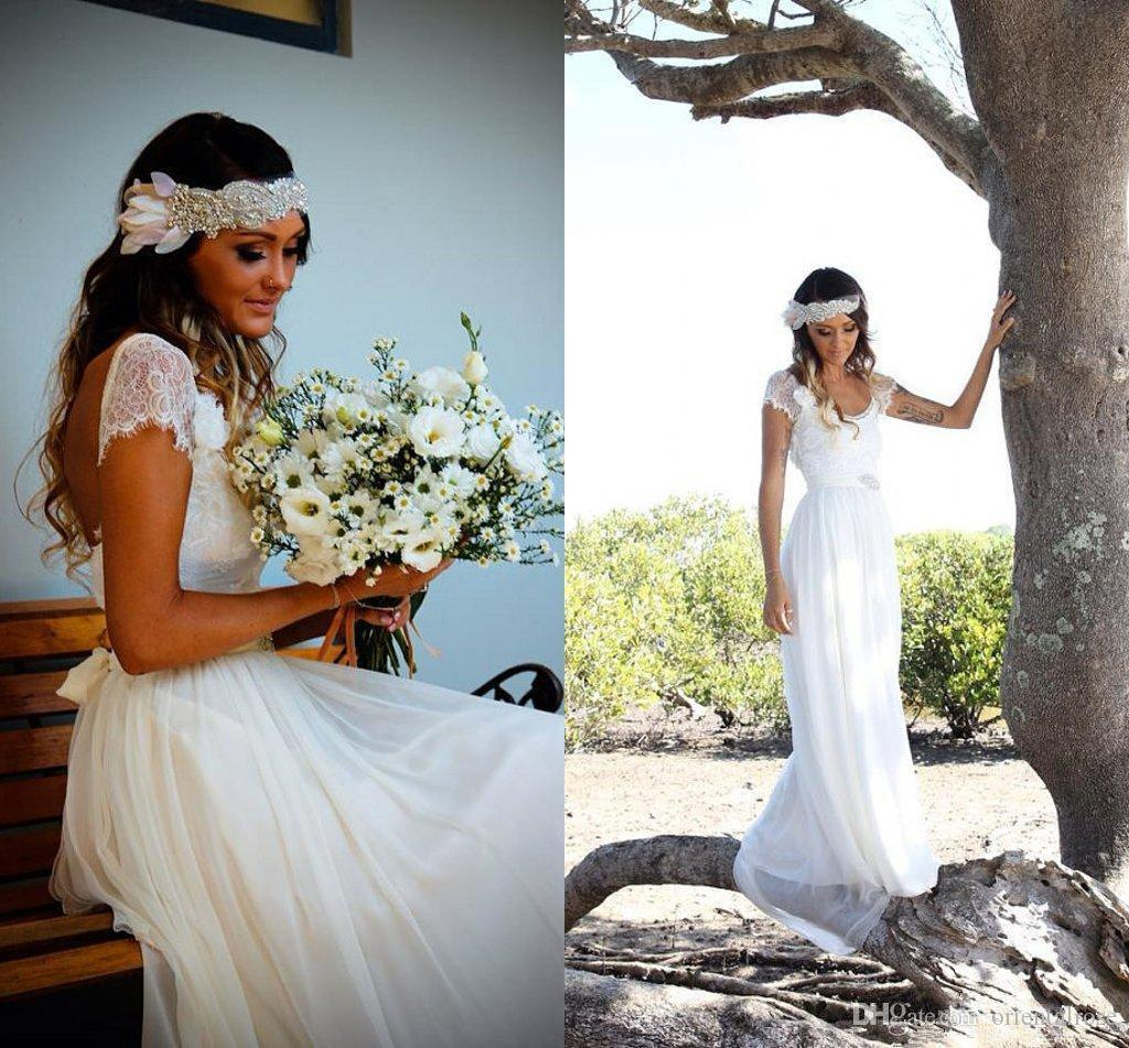 Bohemian Beach Wedding Dresses Cheap Lace Scoop Neck Backless Capped ...