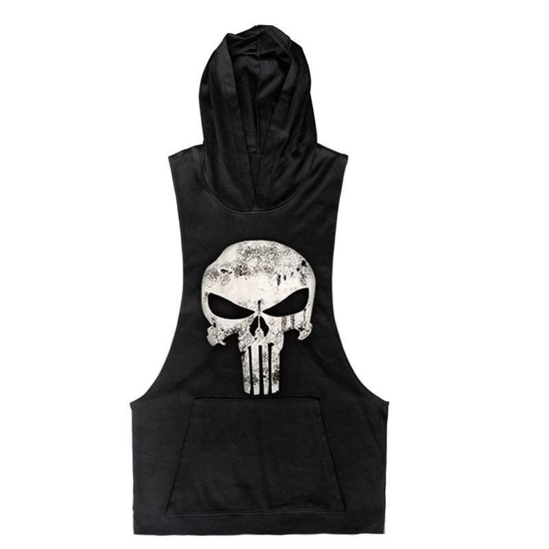 ee6d8436b7ce0 2019 Wholesale 2016 New Brand Skull Sleeveless Shirt Casual Fashion Hooded  Gyms Tank Top Men Bodybuilding Fitness Brand Clothing From Fenghuangmu