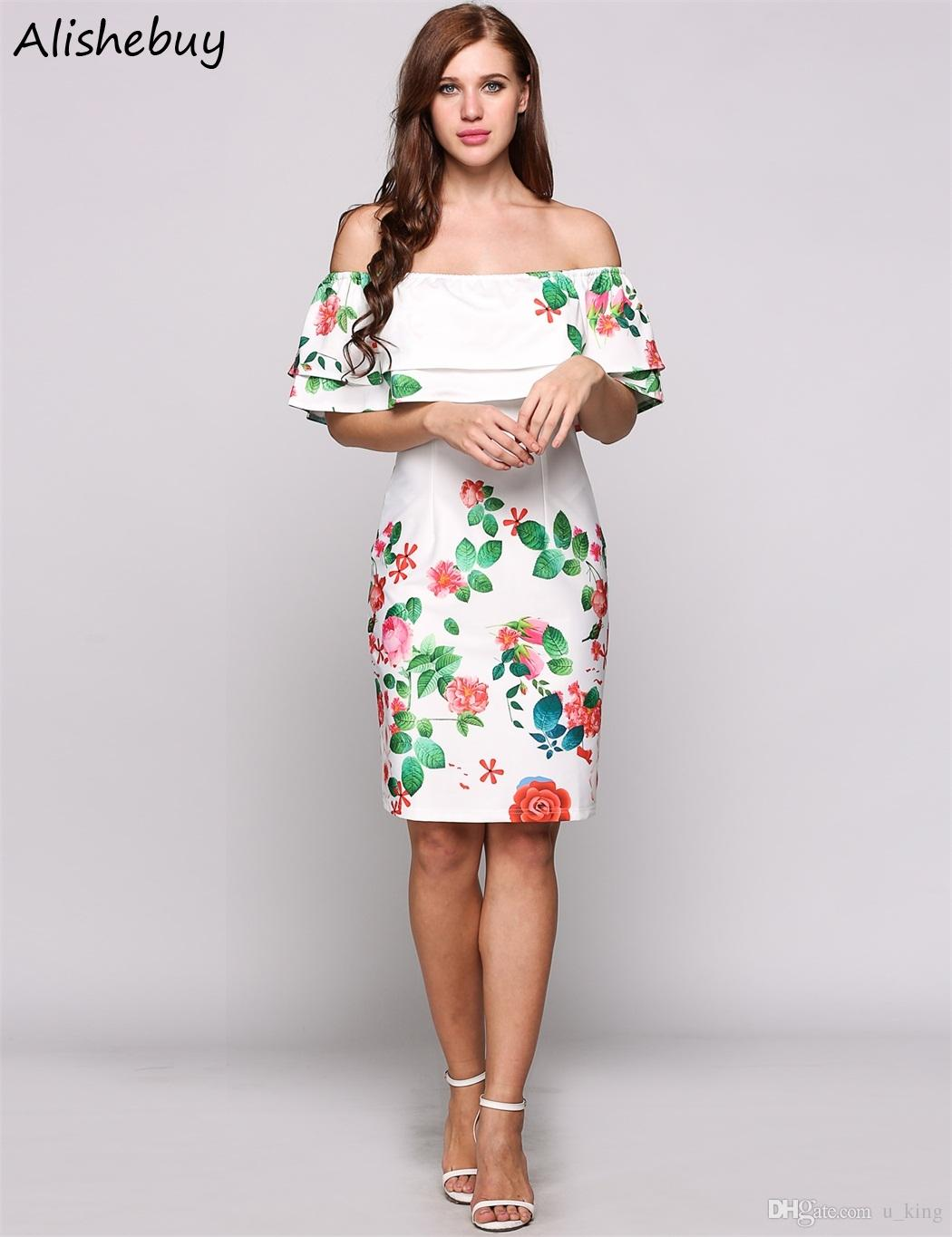 6a4e55782549 2019 Plus Size Sleeveless Dress Wome Off The Shoulder Cap Ruffles Floral  Print Party Dresses Bodycon Going Out Knee Length Dress White SVH032923  From U king ...