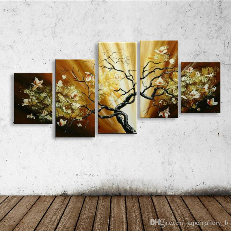 Großhandel Gerahmte 5 Panel Reine Handgemalte Kunst Ölgemälde Blumen ...