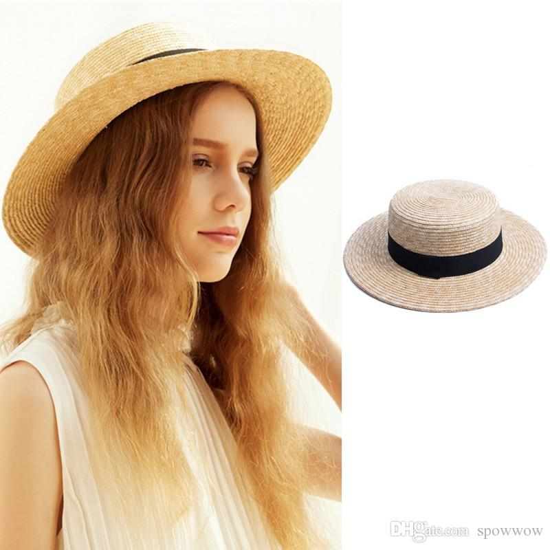 ed4f55dd7ab Womens Stylish Natural Straw Boater Flat Top Hat Black Band Summer Beach  Dress Fashion Show A449 Sunhat Eric Javits From Spowwow