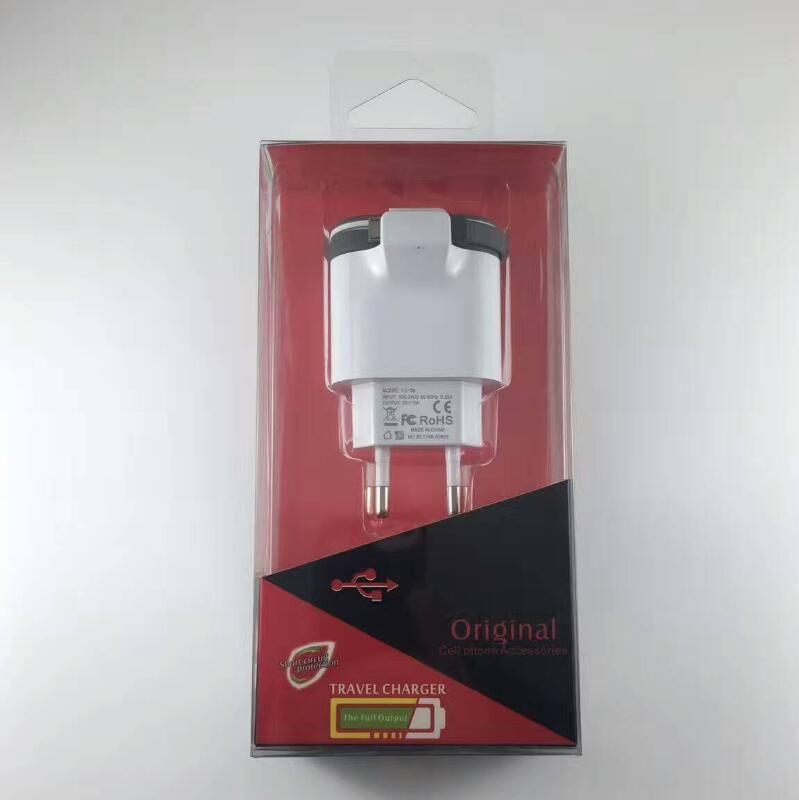 Dual USB Charger 5V / 3.4A UE Plug Built in Cable Travel Wall Charger Adaptador de teléfono móvil para Samsung Xiaomi Huawei iphone LG