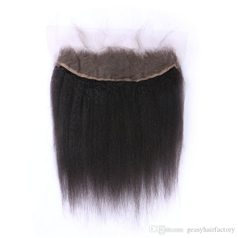 Cheap 13x4 Frontal Lace Closure Bleached Knots 100% Human Hair Virgin Peruvian Kinky Straight Lace Frontal LaurieJ Hair
