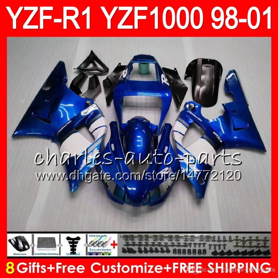 8Gift Body For YAMAHA YZF1000 YZFR1 98 99 00 01 YZF-R1000 blue black 61HM2 YZF 1000 R 1 YZF-R1 YZF R1 1998 1999 2000 2001 Fairing
