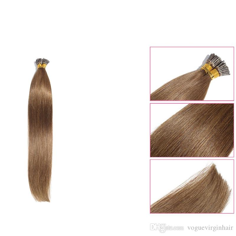 Unprocessed I-Tip Hair Extensions Peruvian Silk Straight Hair 0.5g/pcs Stick Hair Product Pre-Bonded I-Tip