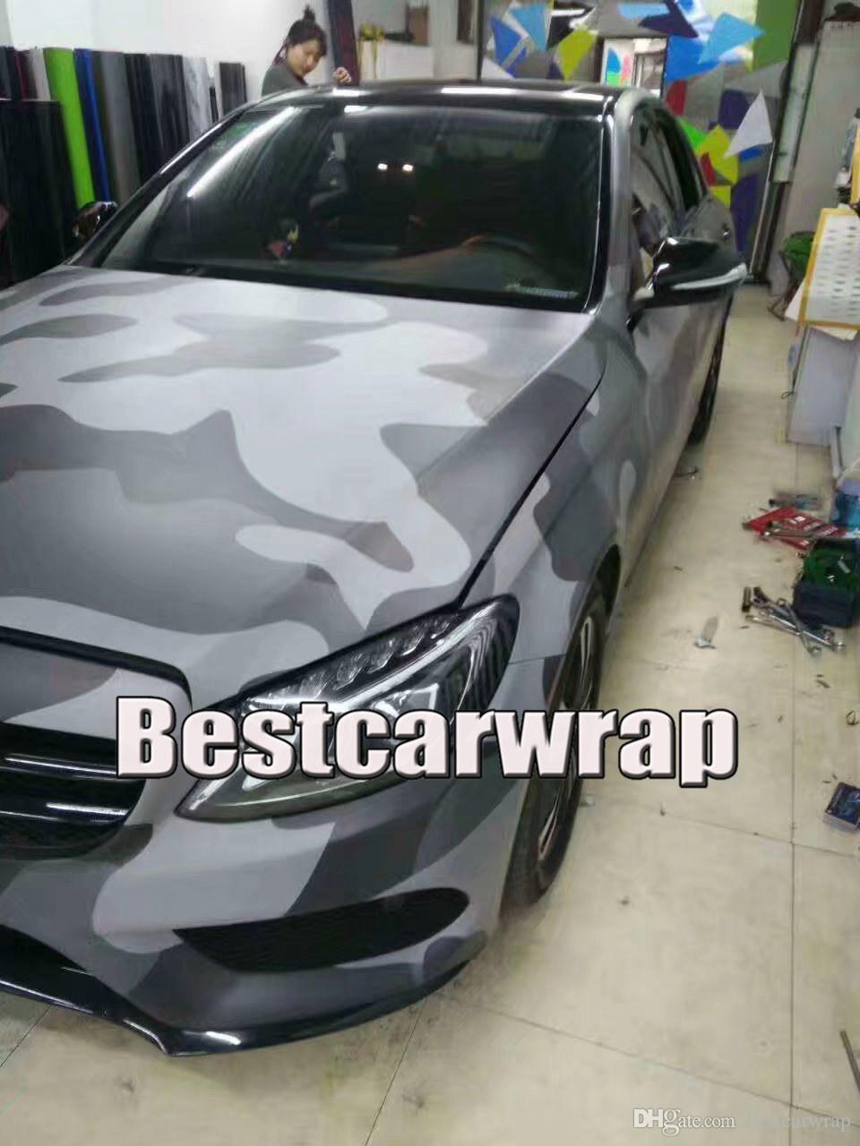 Large Spots Black Gray Camo Vinyl Car Wrap With Air Bubble