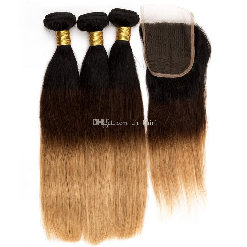 Омбре прямые кружева закрытие с пучками волос три тона 1B/4/27 мед блондинка человеческих волос ткет с верхней закрытия