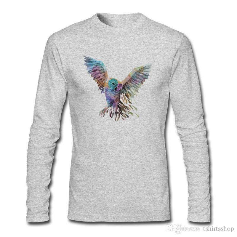 High quality best sale shirts colorful Geometric Owl printed men's tees autumn winter long sleeve shirts