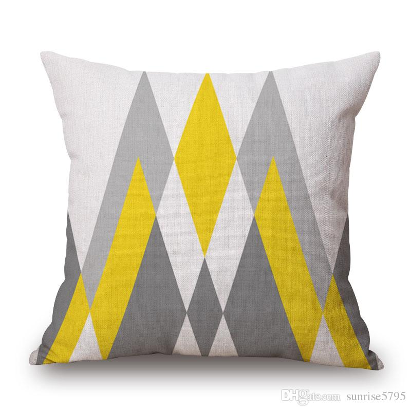 yellow and gray cushion cover cotton linen geometric throw pillow case for lounge chair 45cm nordic almofada decorative cojines