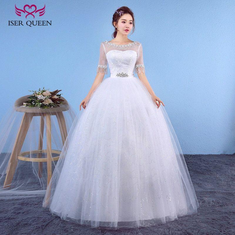 Iser Queen Chinese Cheap Wedding Dress 2018 Boat Neck Half Sleeve ...