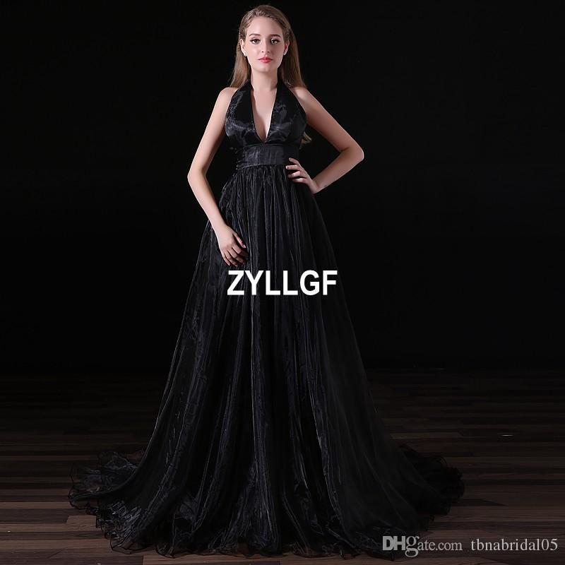 2017 Vendas Quentes Padrão Preto de Luxo de Alta Qualidade Com Decote Em V A linha de Cetim Vestido de Noite Vestido de Festa Festa da Noite Ocidental