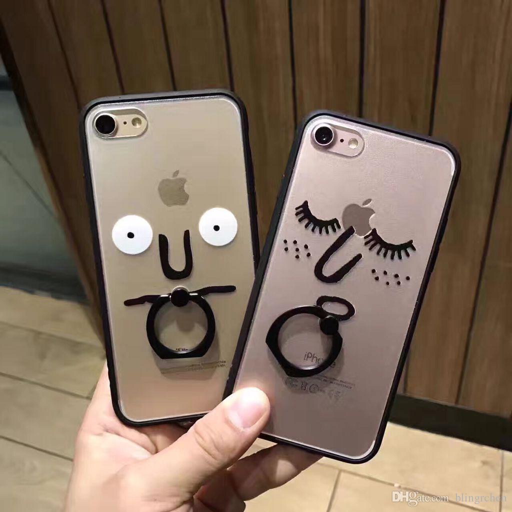 newest funny design luxury finger ring holder cell phone back case for iphone6 6s 7 plus iphone ring holder case 2 in 1 case,