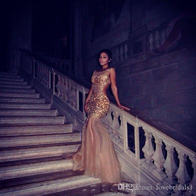 2019 Formal Sexy Gold Nude See Through Evening Gowns Mermaid Sheer Neck Crystal Beaded Tulle Backless Celebrity Prom Dresses