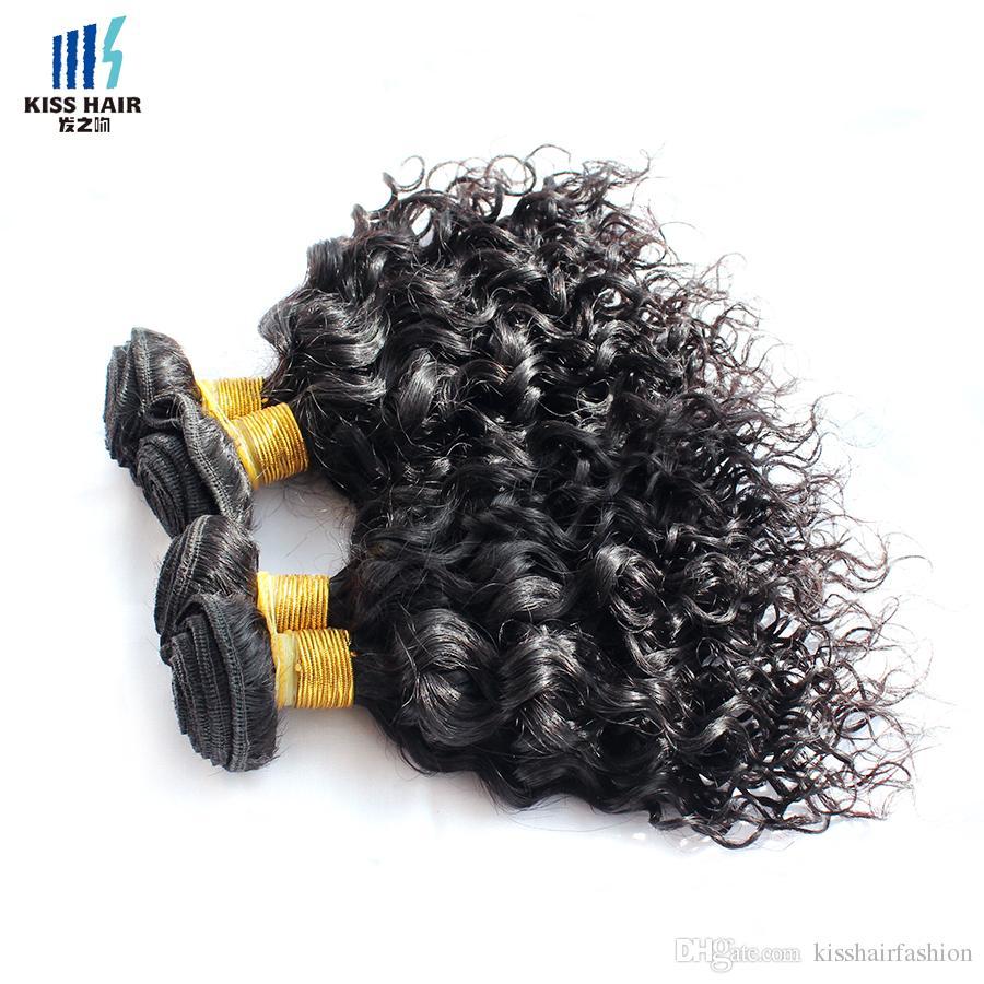 4 Stücke Menschliches Haar Bundles Wasser Welle Jerry Curl 50 gr / teil Farbe 1B Indische Mongolische Lockige Reine Haar Weben Extensions für Kurze Bob Stil