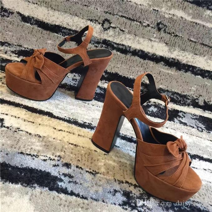 High Quality 2017 Summer High Platform Sandals Open Toe Ankle Strappy Chunky Heels Sandals Platform Bowtie Shoes Woman