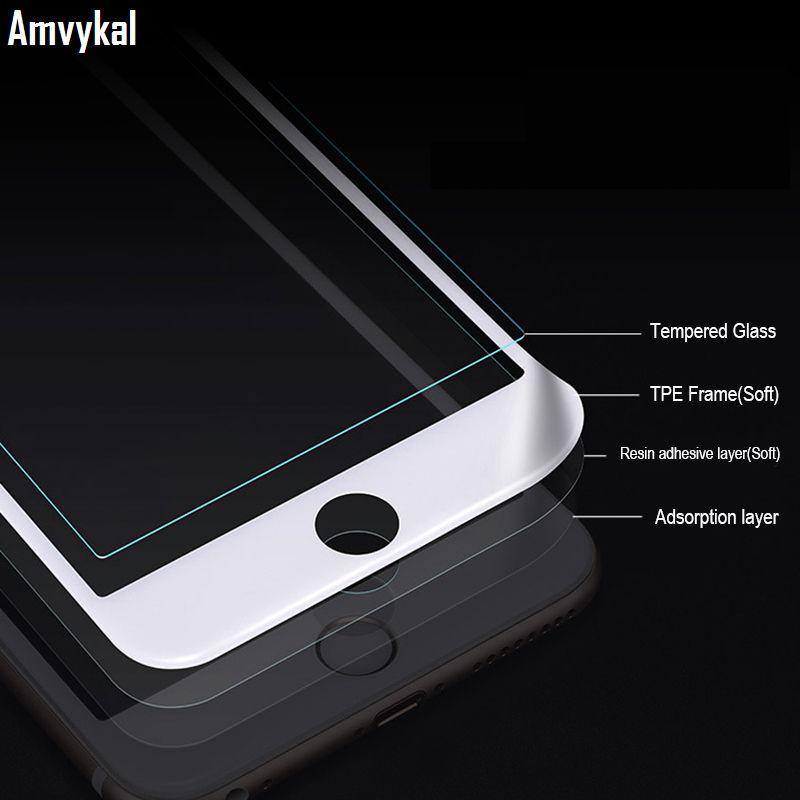 Pantalla borde suave de la cubierta completa de vidrio templado 11 protector para el iPhone Pro XR X XS Max 6S 7 8 Plus vidrio templado de Cine