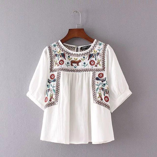 Fashion Eelgant Retro Animal Embroidery Tops Falbala