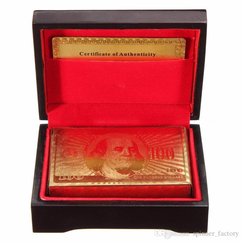 Original À Prova D 'Água de Luxo 24 K Folha De Ouro Banhado A Pôquer Premium Matte Plástico Jogos de Tabuleiro Baralho Para A Coleção Do Presente