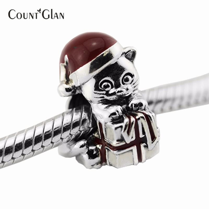 Christmas Kitten Beads Fits Pandora Charms Bracelets Berry Red Ename Charm Beads For Jewelry Making 2016 Winter Christmas Gifts