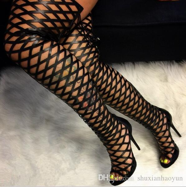 5cbfb424f Thigh High Gladiator Sandals Boots Women Sexy Peep Toe Netted Cut Out Over  Knee Gladiator Boots High Heel Sandal Boots Black Snowboard Boots Rubber  Boots ...