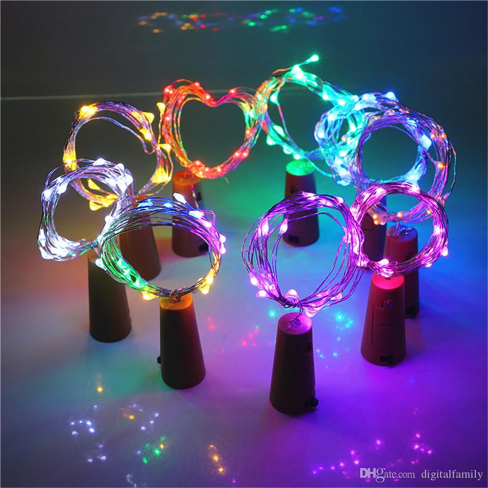 2M 20LED lámpara corcho de la botella en forma de tapón de la Luz la copa de vino 1M LED de alambre de cobre luces de cadena para Navidad Partido boda de Halloween