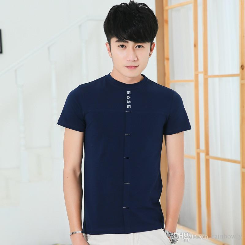 2017 Summer Korean Fashion Style Menu0026#39;s T-shirts Round Neck Bottoming Shirt Thin Breathable Solid ...