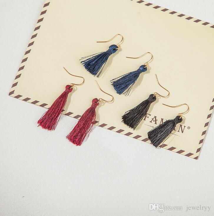 Sapphire Blue Fashion Sweet Tassels Pendiente Moda Golden Fish Ear Hook Antique Dangle Chandelier Mujeres Pendientes colgantes Regalo de la joyería del partido