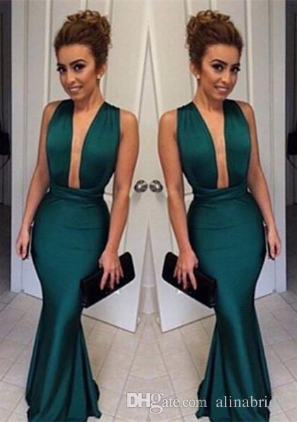 Emerald Green Deep V-Ausschnitt Abendkleider 2019 Sexy Mieder zurück Criss Cross Nach Maß Red Mermaid Formale Prom Party Kleider