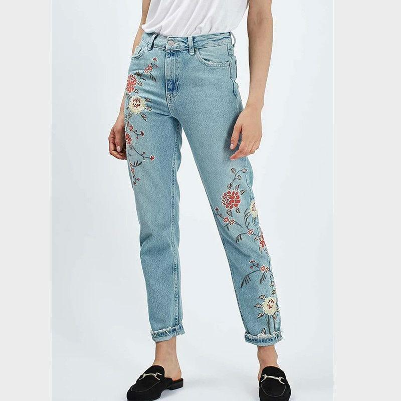 c76f41dcd75 2019 Wholesale Vintage Embroidery Jeans Female Pants Winter Pockets  Straight Jeans Women Bottom Plus Size Women Denim Trousers Embroider From  Erzhang
