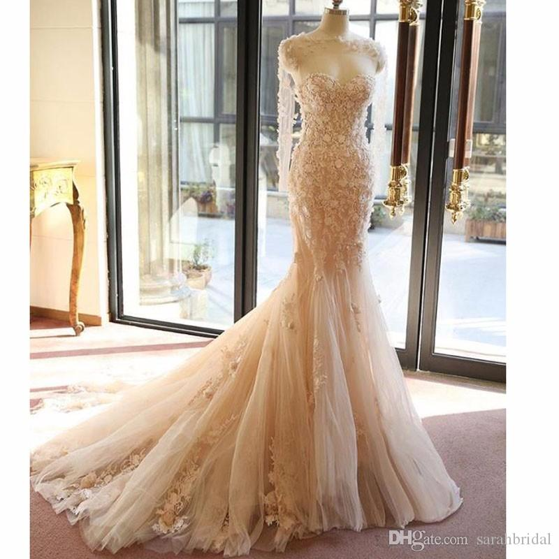 2019 long sleeves sheath Pageant wedding dresses country fairy Bridal Gowns mermaid flowers 3D-Floral Appliques wedding dresses