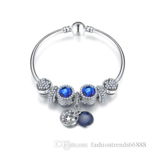 Fashion 925 Sterling Silver Crystal Charm Beads   European Charm ... 58b94a6078b9