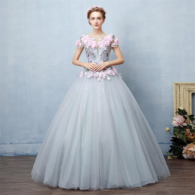 quinceanera dresses 2017 crew neck grey with pink appliqued