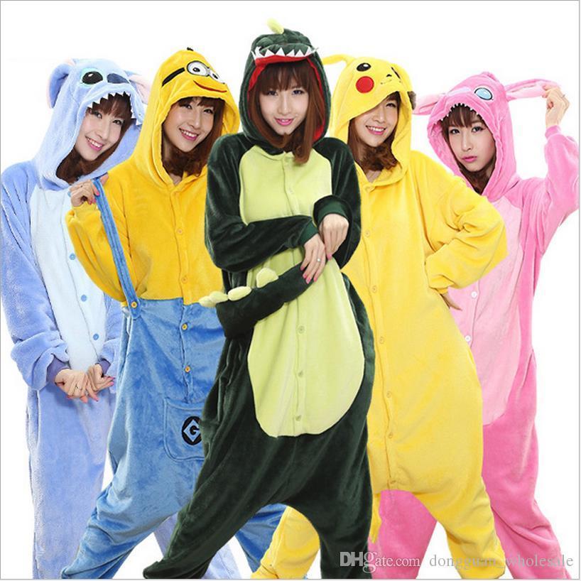 Großhandel Tier Stich Einhorn Panda Bär Koala Pikachu Onesie Erwachsene Unisex Cosplay Pyjamas Nachtwäsche Für Männer Frauen