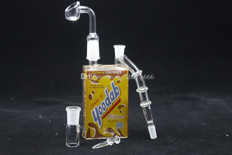 Hitman Glass Juice Box With 14mm Female Quartz Nail Oil Dab Rig Liquid Sci Glass Water Pipes Yoodab Terpicana Themed Cereal Concentrate Bong