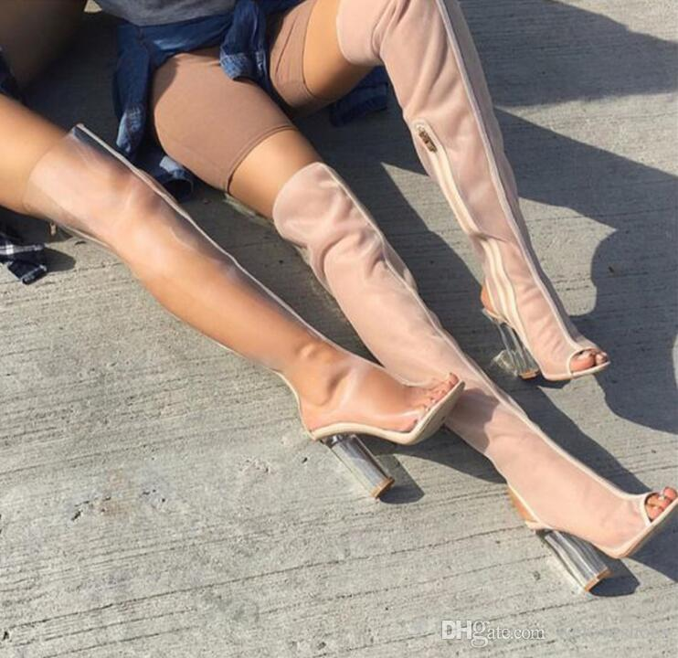 2017 yeni kadın diz yüksek PVC çizmeler üzerinde açık topuk peep toe patik tıknaz topuk patik elbise ayakkabı uzun gladyatör sandalet botla ...