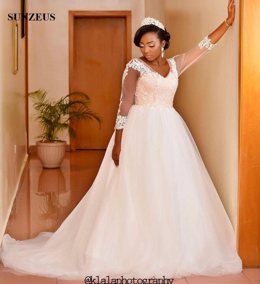 Luxury Tulle Three Quarter Sleeve A Line Wedding Dress: Discount A Line V Neck Three Quarter Sleeve Wedding