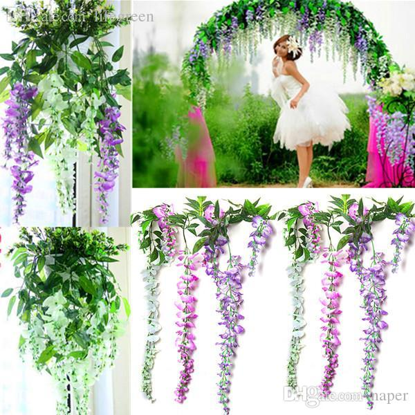 Wholesale wholesale hot sale silk wisteria flowers vine home hotel wholesale wholesale hot sale silk wisteria flowers vine home hotel decor hanging artificial plant garland wedding party by naper under 2497 dhgate mightylinksfo