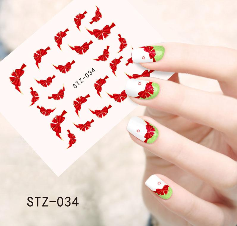 Wholesale Fashion Red Bow Ties Water Transfer Stickers Nail Art