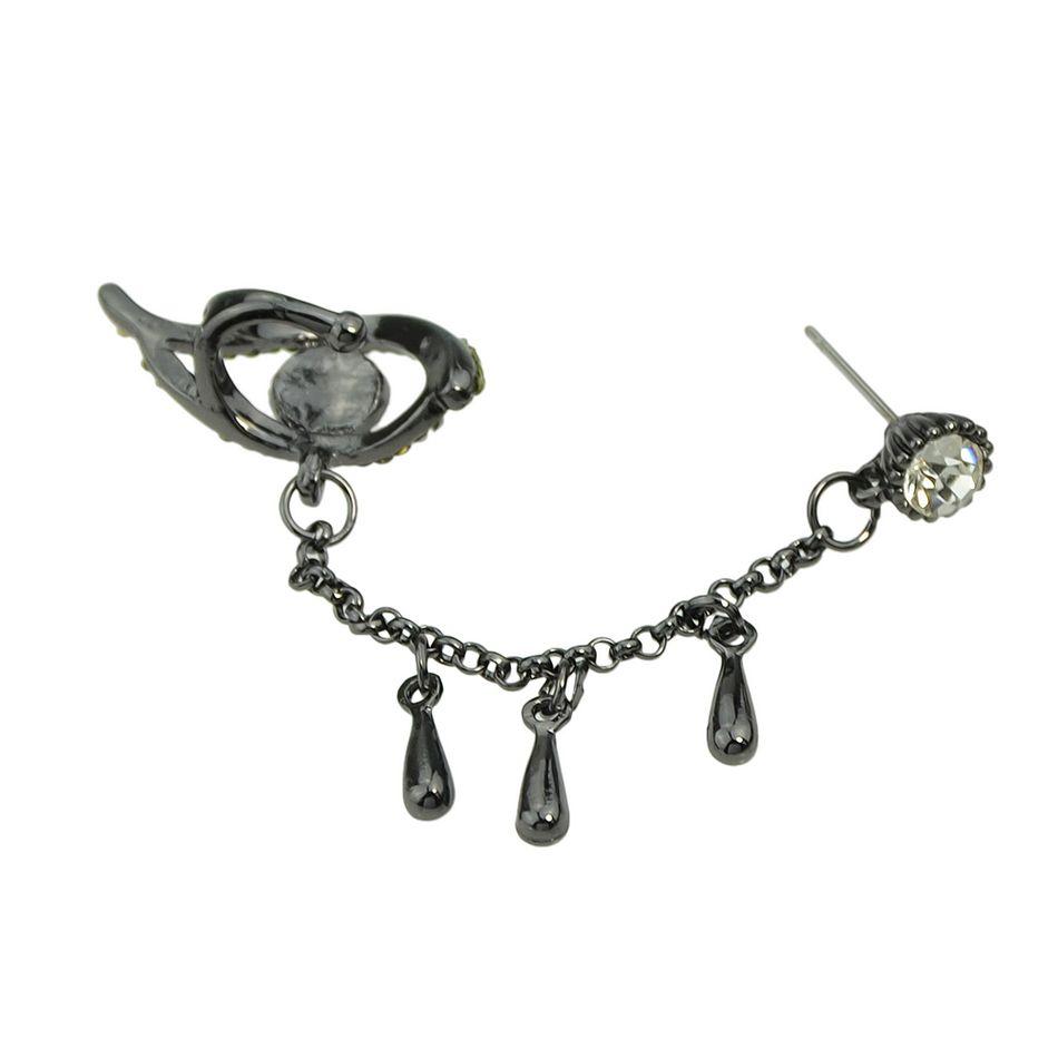 Newindy Elegant Steampunk Style Gunblack Chain Ear Cuff With Eye Tear Rhinestone Water Drop Shape Clip Earrings for Women