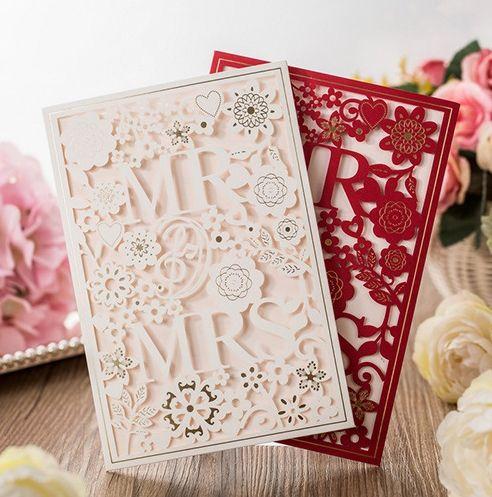 Laser Cut Wedding Invitations Cards White Paper Flowers Mr Mrs